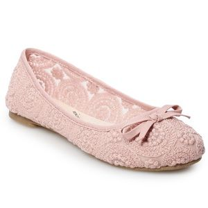 Rose Lace Ballerina Flats Shoes Size 11 Pink